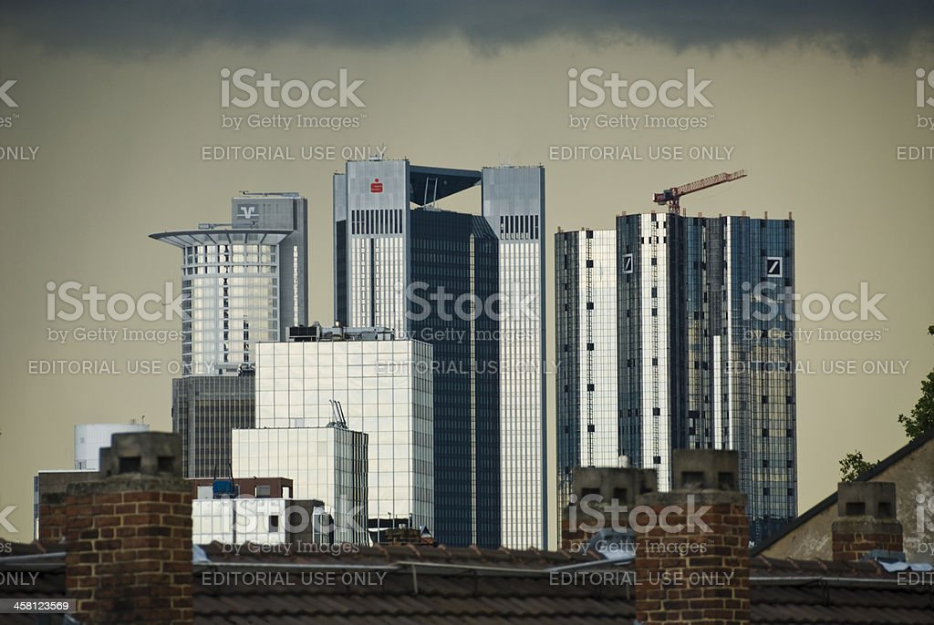 Dark clouds over the financial district stock photo