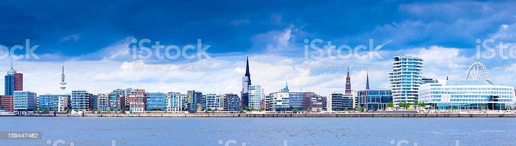 Dark clouds over the HafenCity in Hamburg stock photo