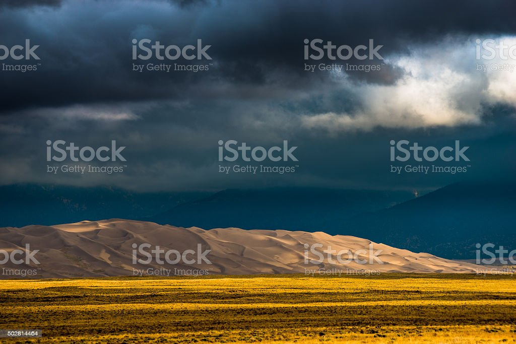Dark Clouds over the Sand Dunes Colorado USA Landscapes stock photo