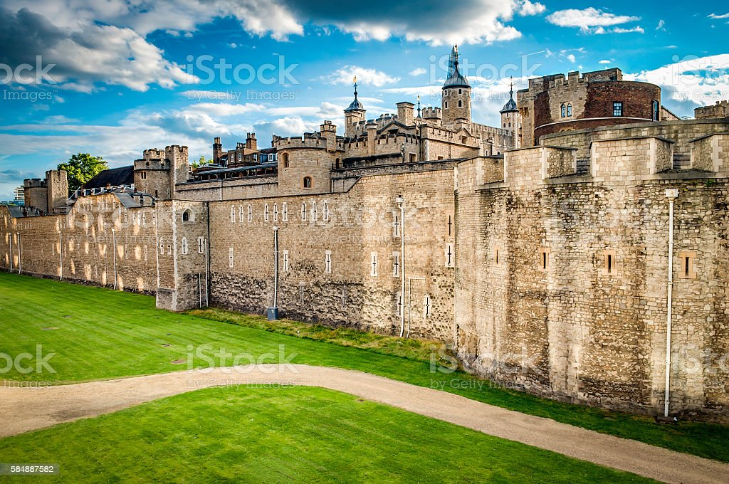 Dark clouds over the tower of London stock photo