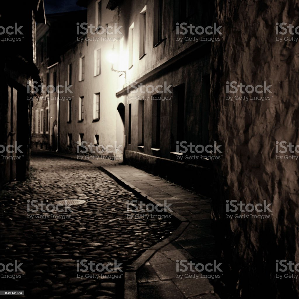Dark Cobblestone Street royalty-free stock photo