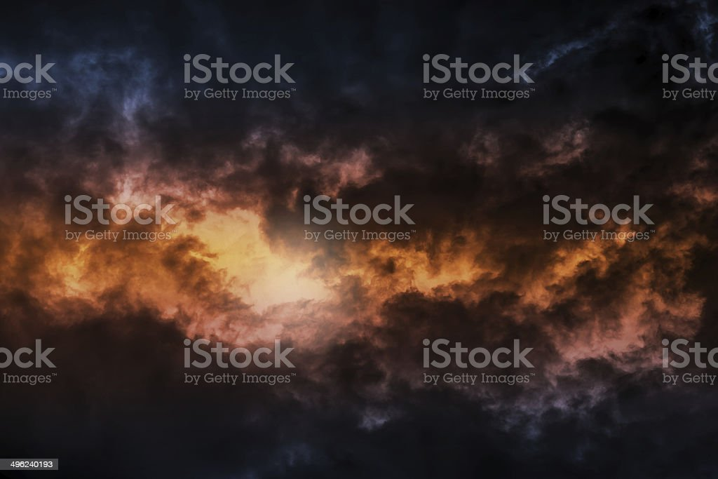 Dark colorful stormy cloudy sky background photo stock photo