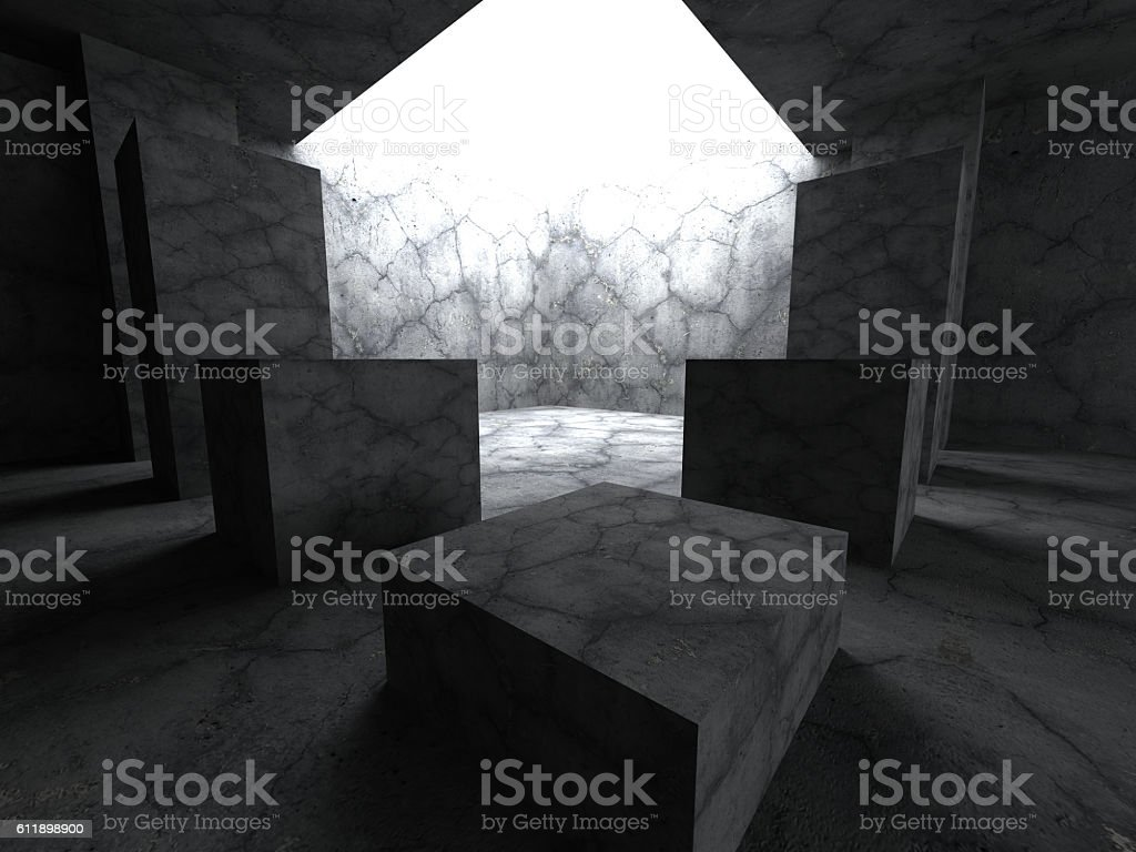 Dark concrete room with light hole. Architecture background stock photo