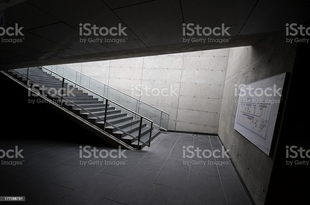 Dark corridor and staircase stock photo