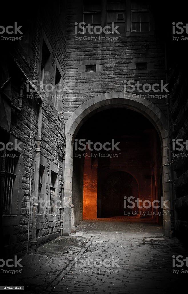 Dark courtyard (Edinburgh, Scotland) stock photo