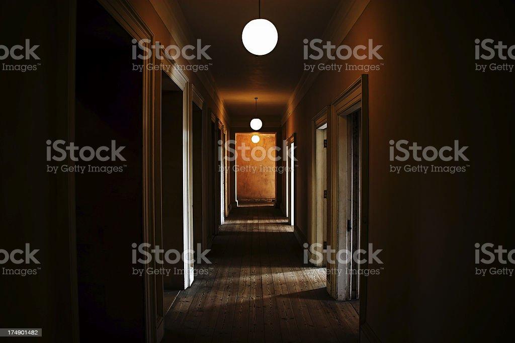 Dark creepy corridor stock photo