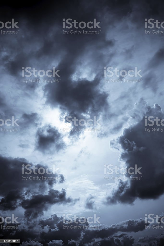 Dark dramatic clouds stock photo