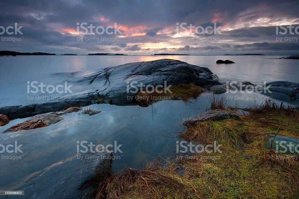 Dark early morning seascape royalty-free stock photo