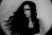 Dark fantasy portrait of magician woman, third eye, witch concept