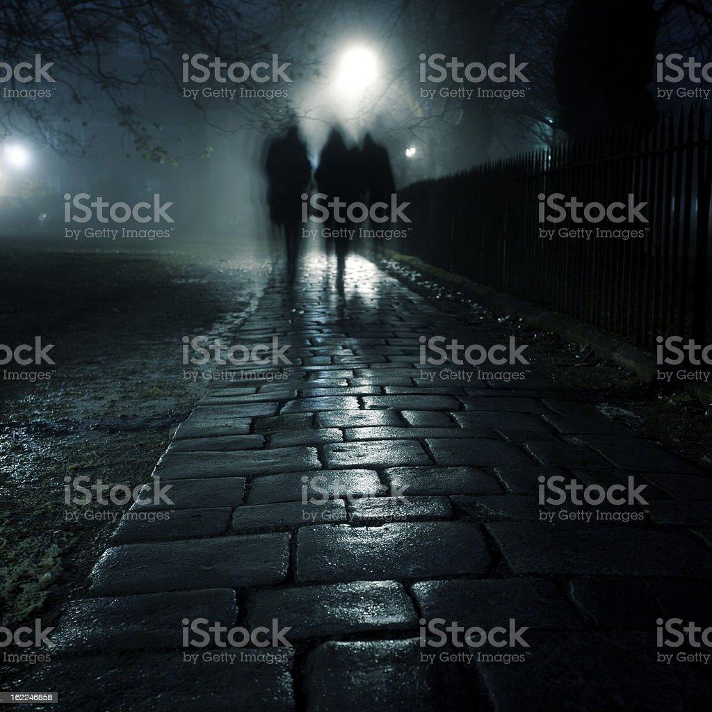 Dark foggy sidewalk stock photo