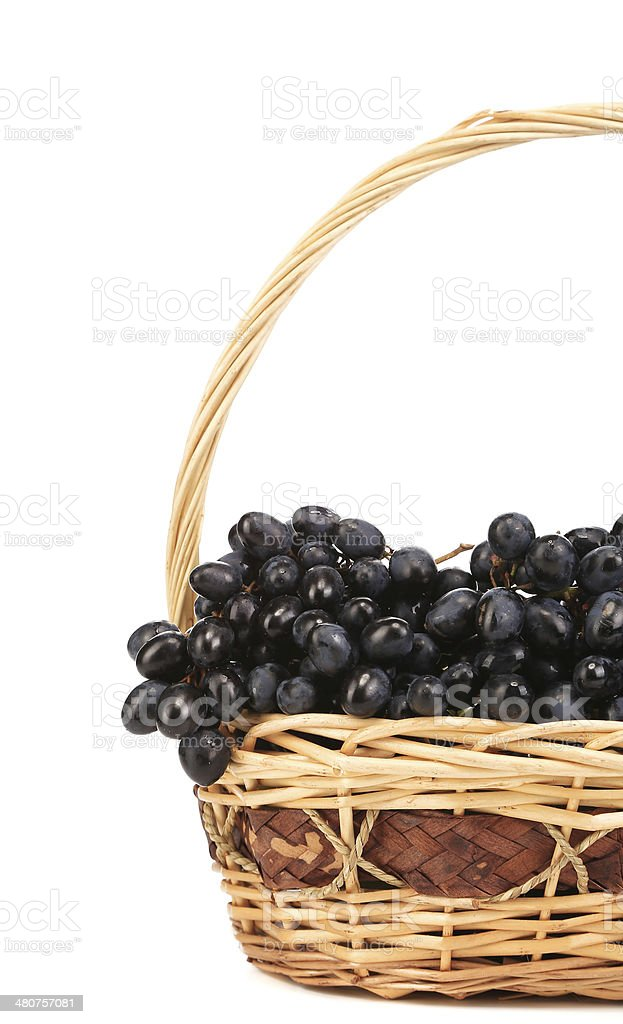 Dark grapes in a wicker basket. royalty-free stock photo