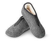 Dark gray slippers with fur one on another