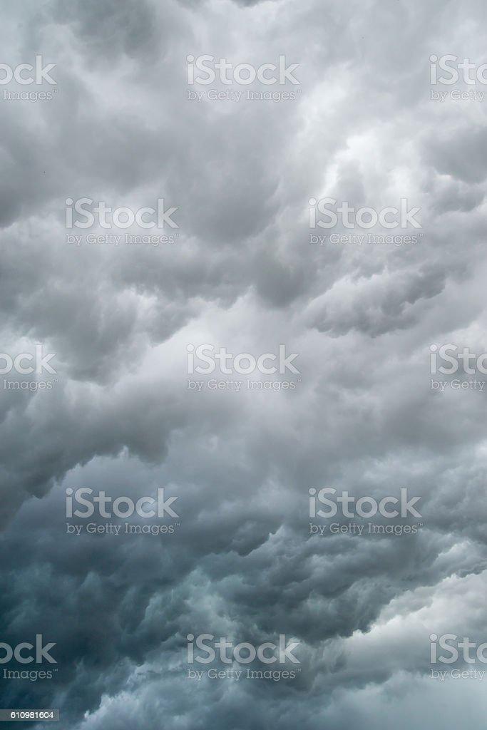 Dark gray storm clouds stock photo