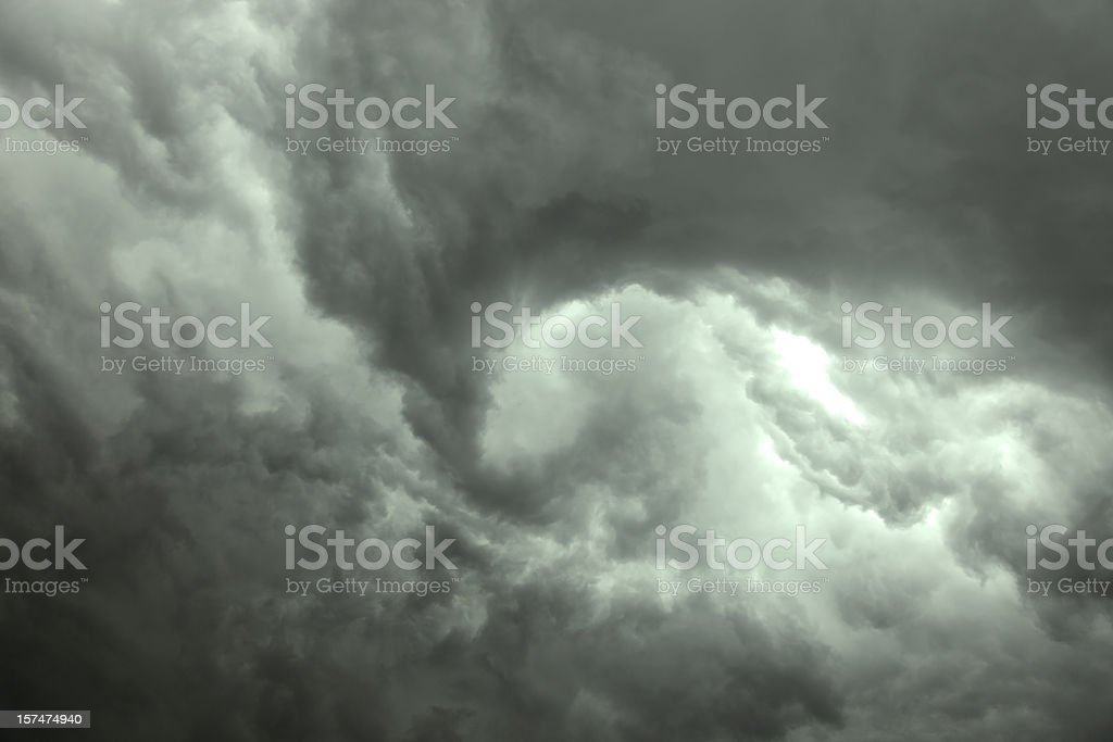 Dark gray swirling storm clouds royalty-free stock photo