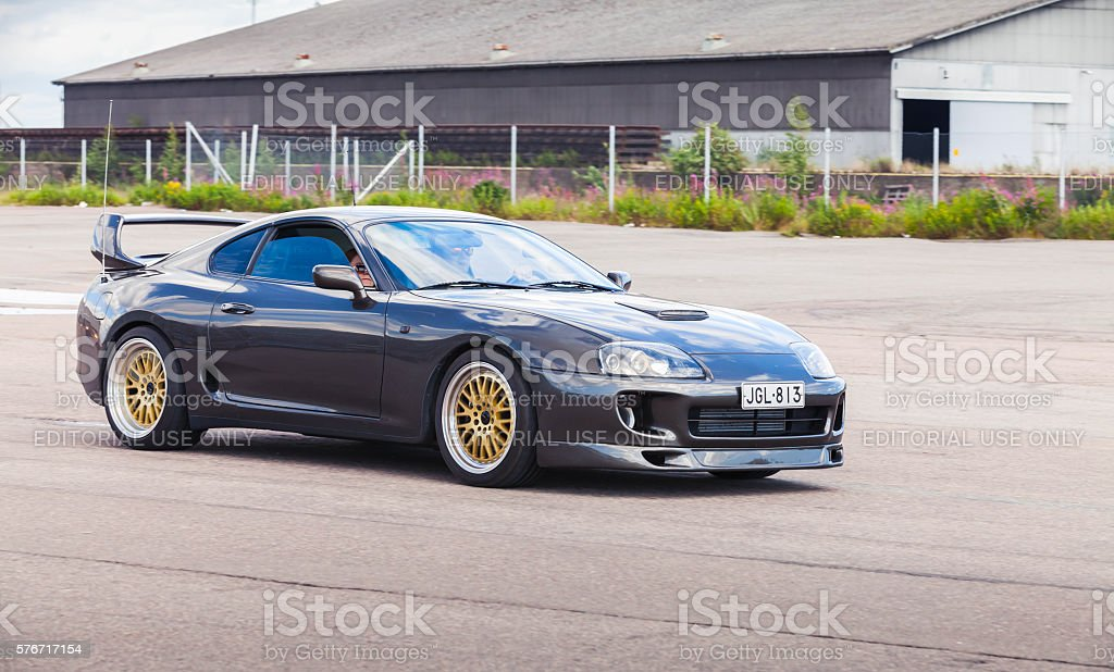Dark gray Toyota Supra A80 stock photo