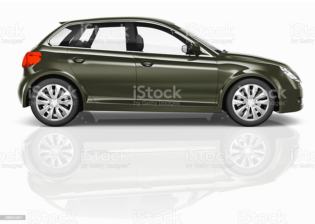 Dark Green 3D Hatchback Car Illustration stock photo