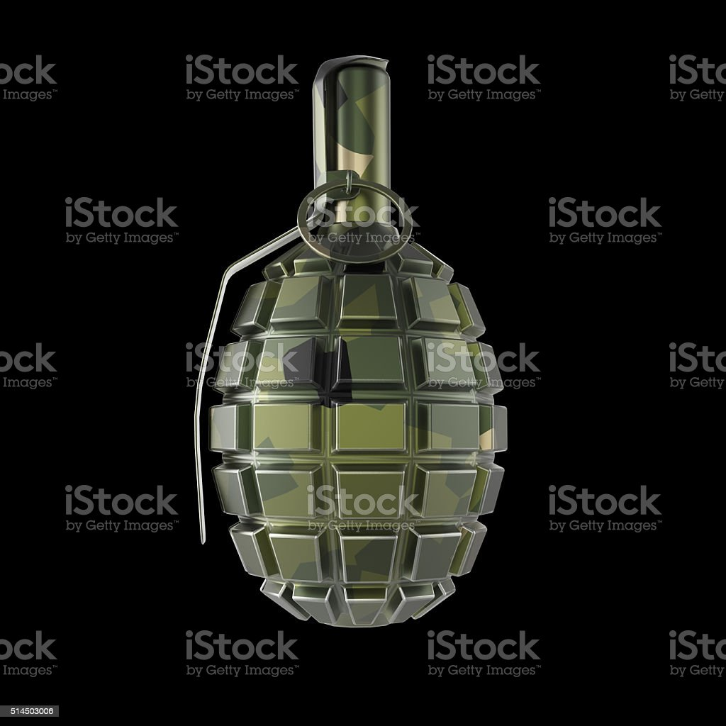 dark green and black metal hand grenade isolated on red stock photo