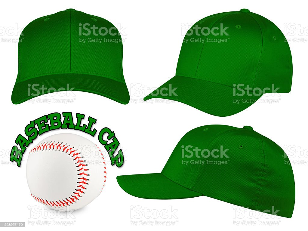 dark green baseball cap set stock photo