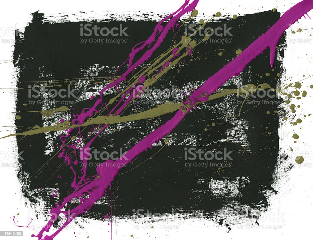 Dark Green Block of Paint with Purple Splatters royalty-free stock photo