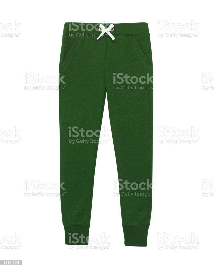 Dark green sport sweatpants isolated white stock photo