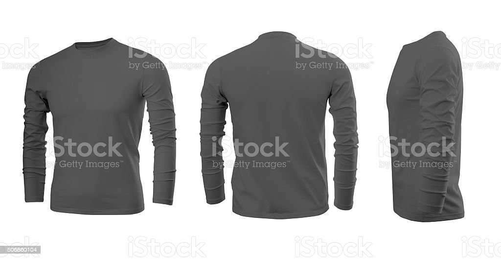 Dark grey men's T-shirt with long sleeves stock photo