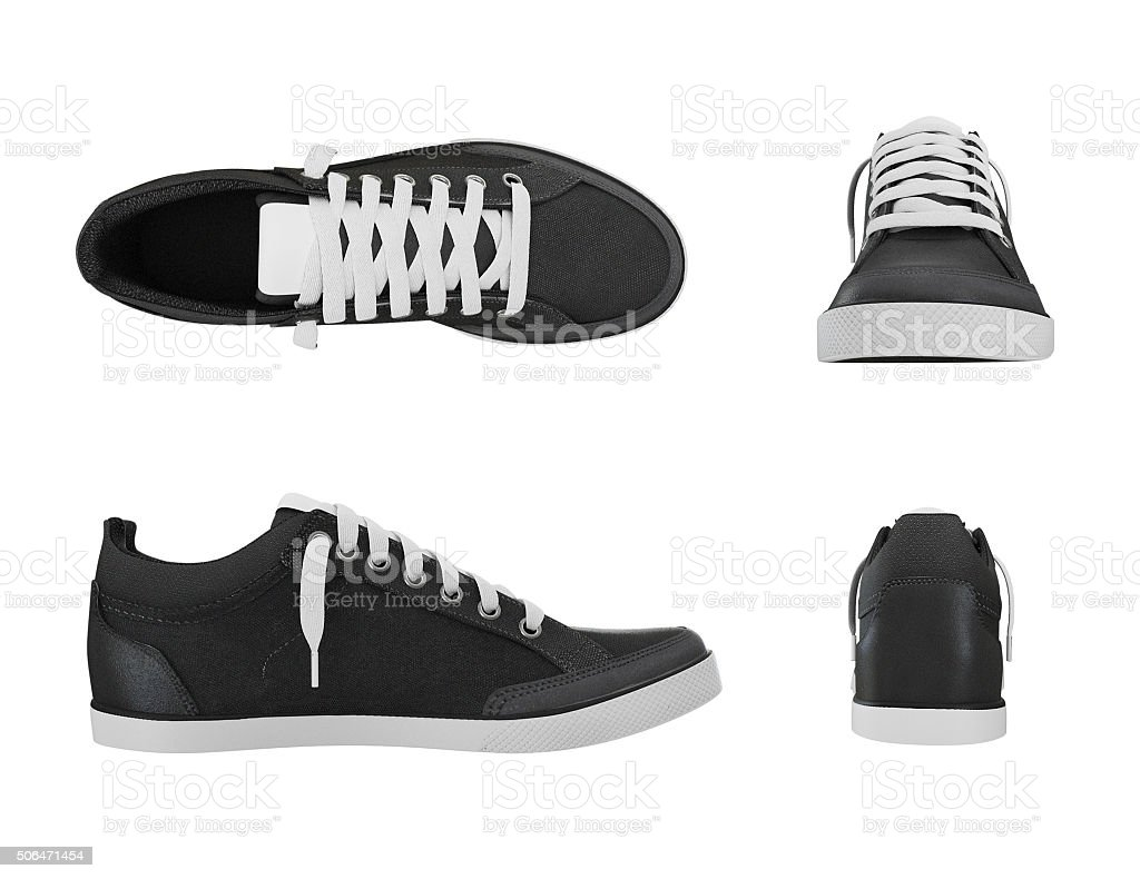 Dark grey pair of sport sneakers from four side stock photo