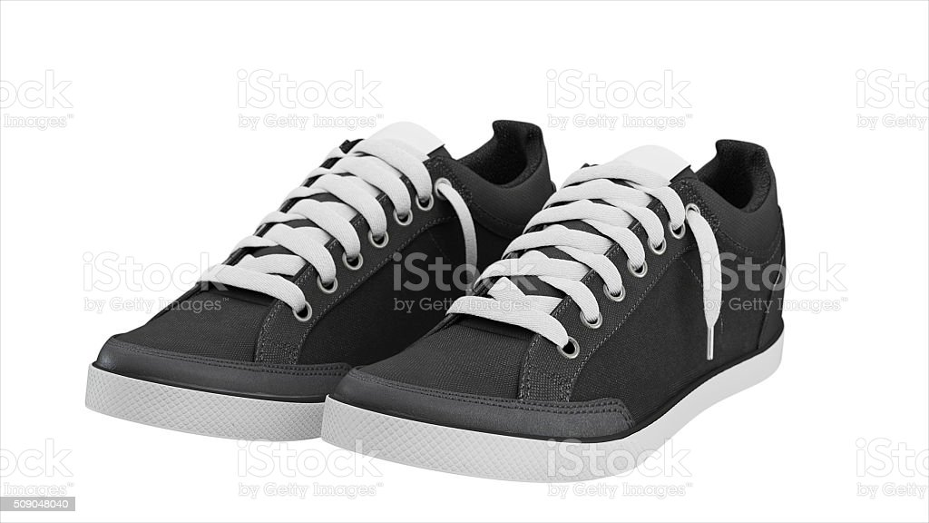 Dark grey pair of sport sneakers stock photo