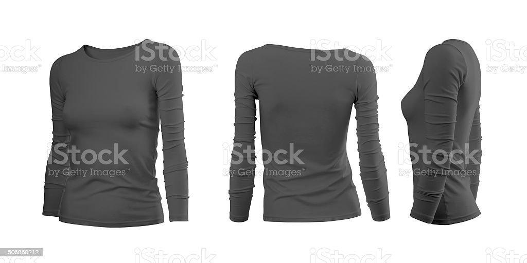 Dark grey woman's T-shirt with long sleeves stock photo