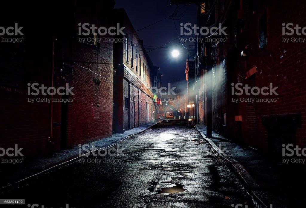 Dark Gritty Alleyway stock photo