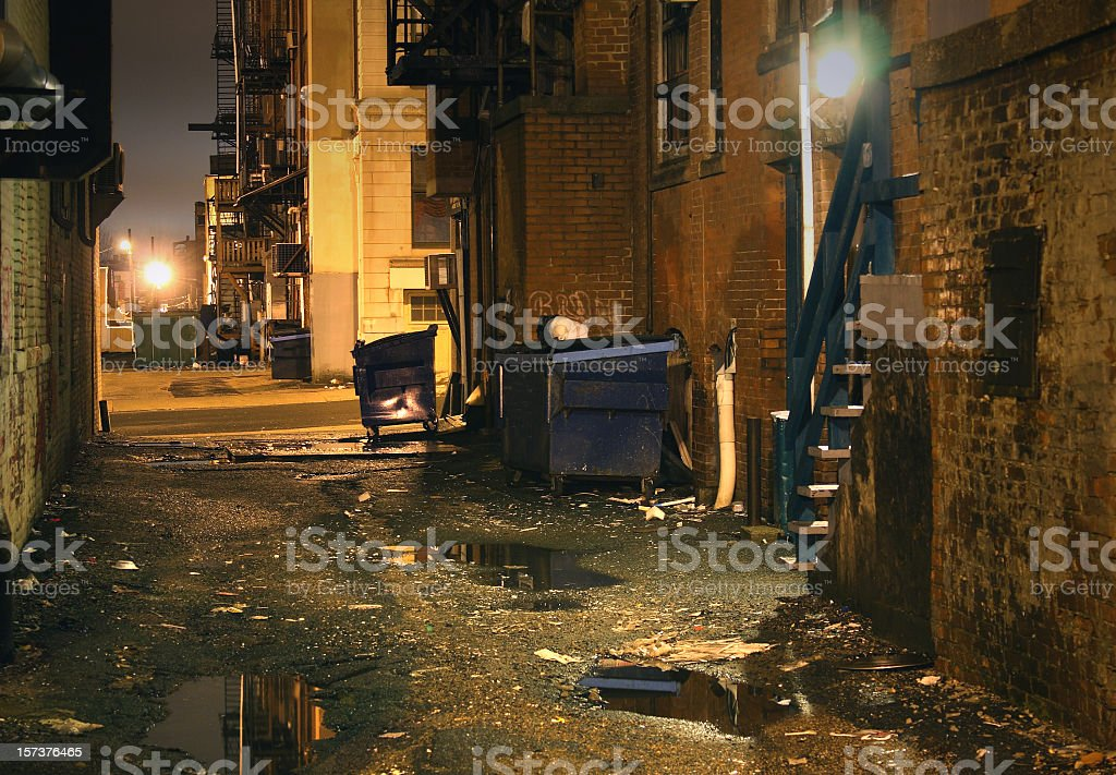 Dark gritty inner city urban Alley stock photo