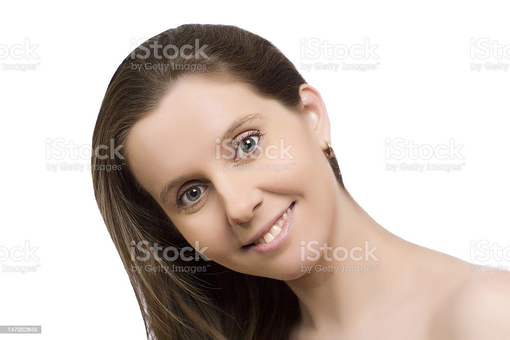 dark hair young woman portrait, studio shot royalty-free stock photo