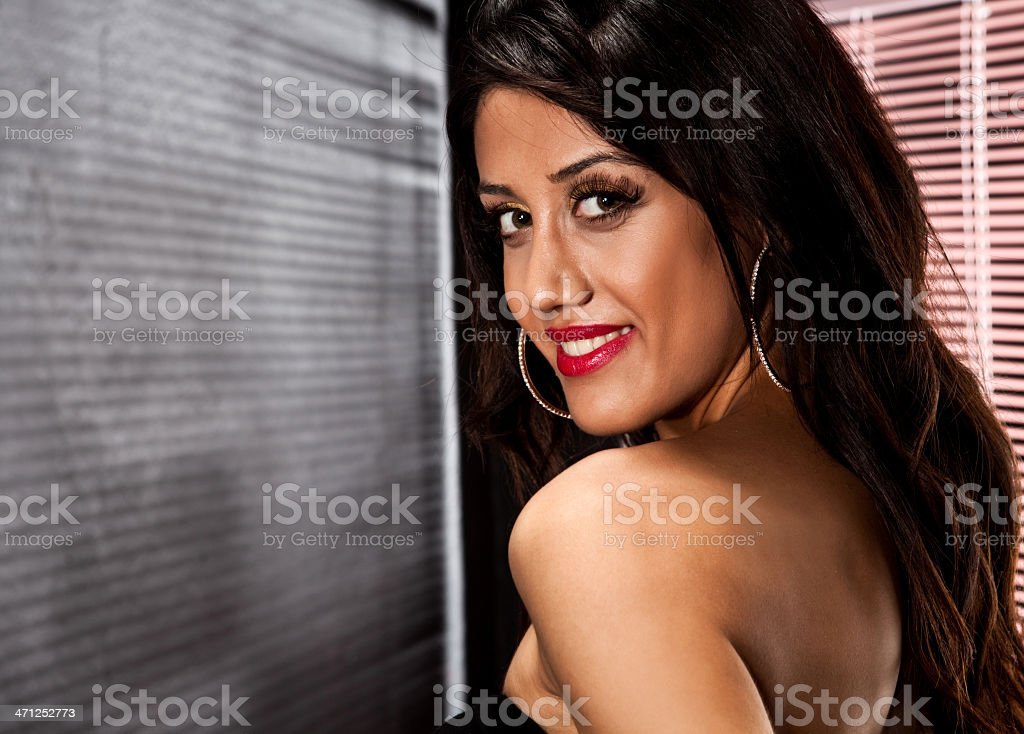 Dark haired beautiful woman stock photo