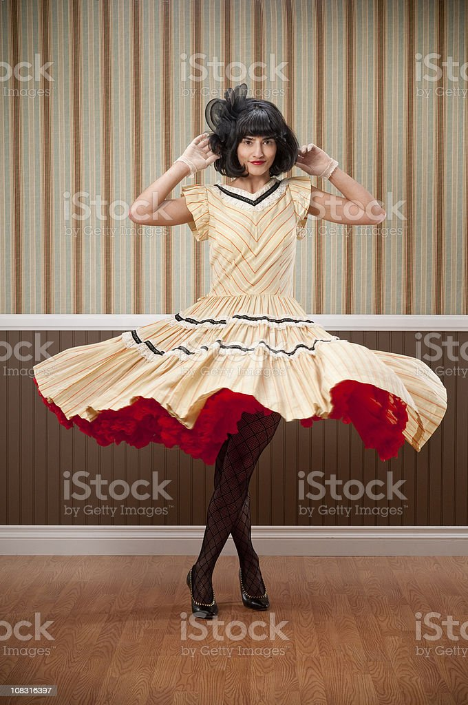 Dark Haired Woman Fanning Vintage Dress royalty-free stock photo