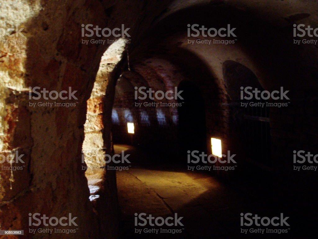 Dark hallway stock photo