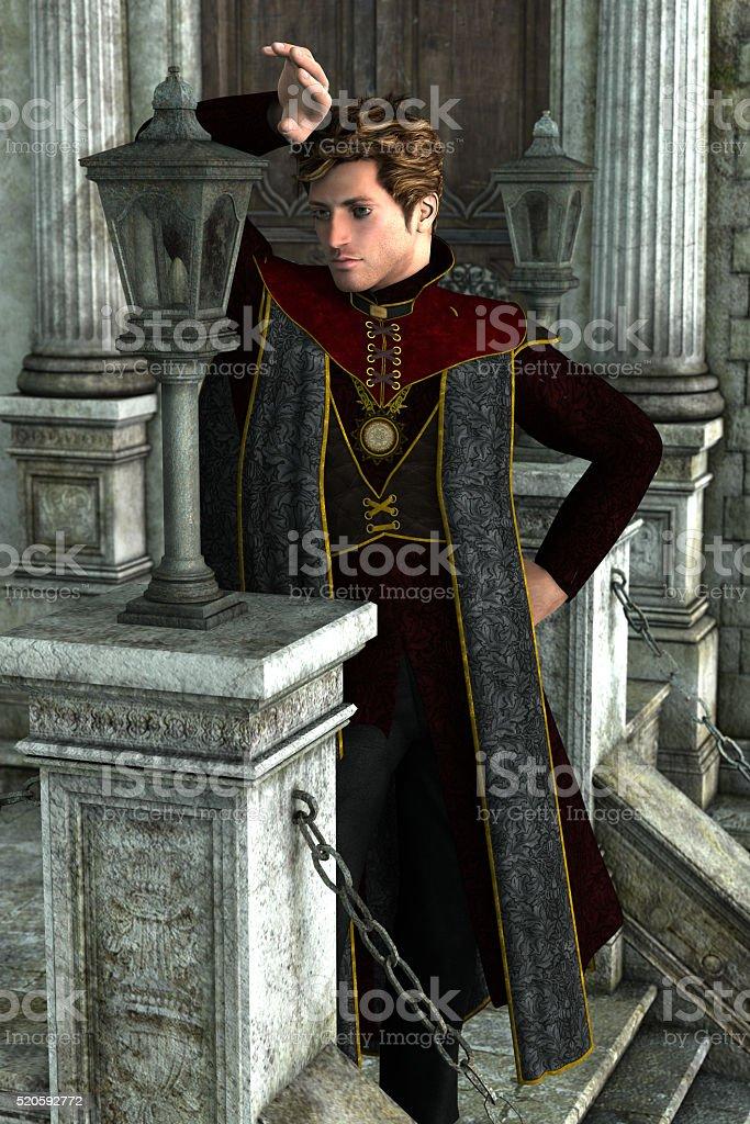 Dark handsome king stock photo