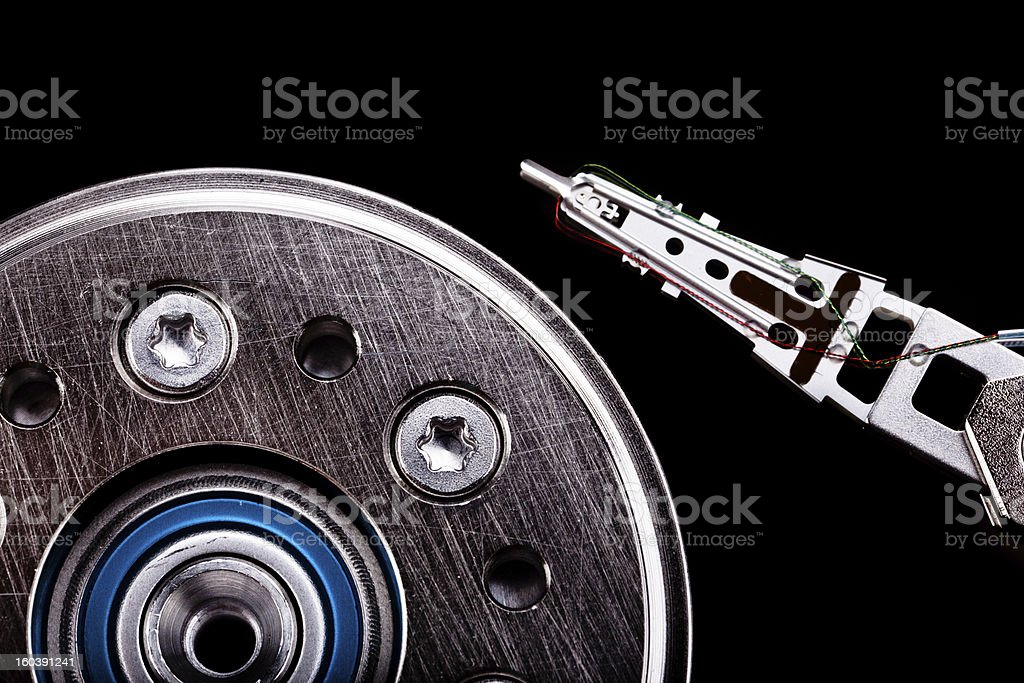 Dark hard disk macro royalty-free stock photo