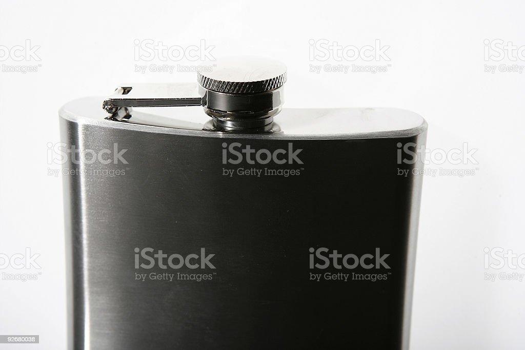 dark hip-flask on white background royalty-free stock photo