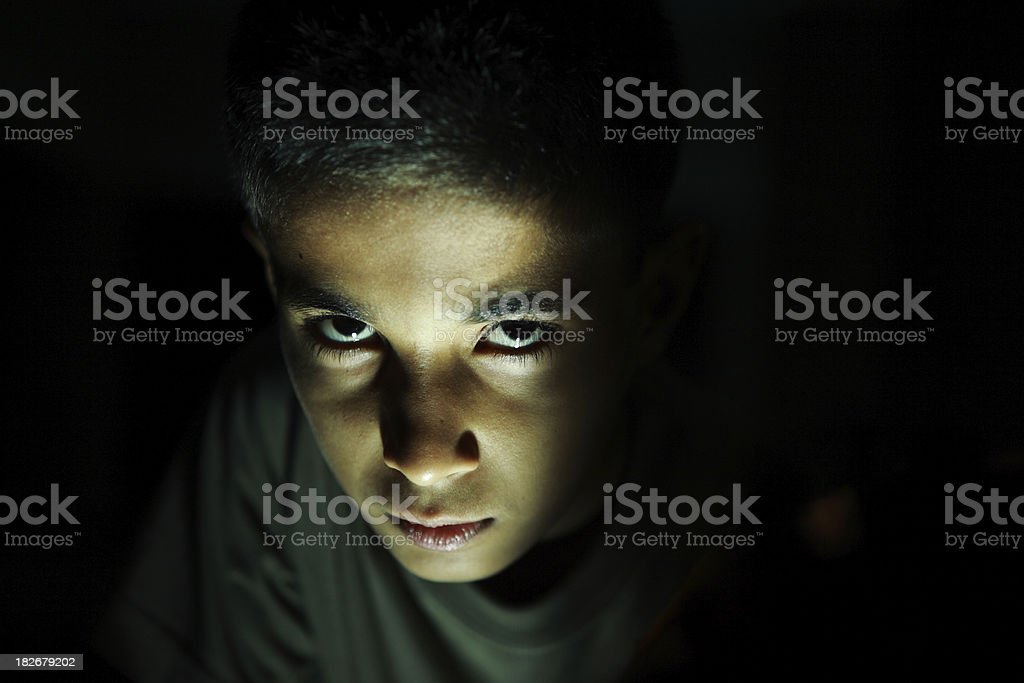 Dark Horror Portrait Teenage Boy stock photo