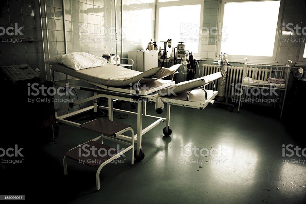 Dark hospital room stock photo