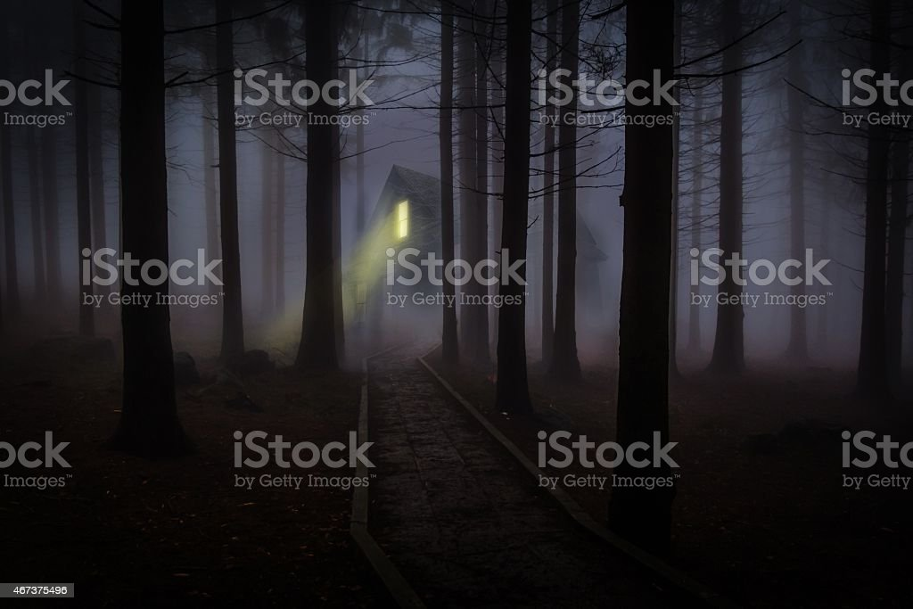 Dark house in the middle of the forest stock photo