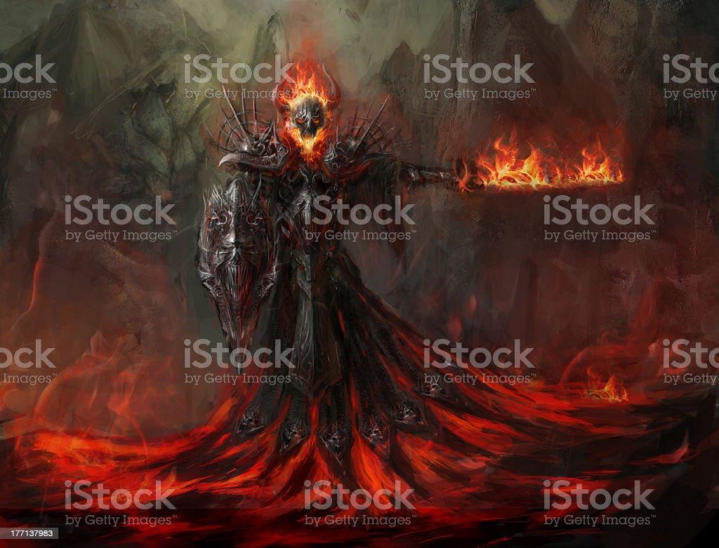 Dark illustration of a fire revenant stock photo