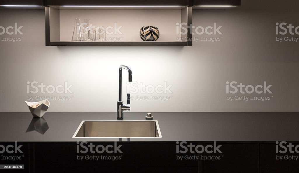 Dark Kitchen Sink stock photo