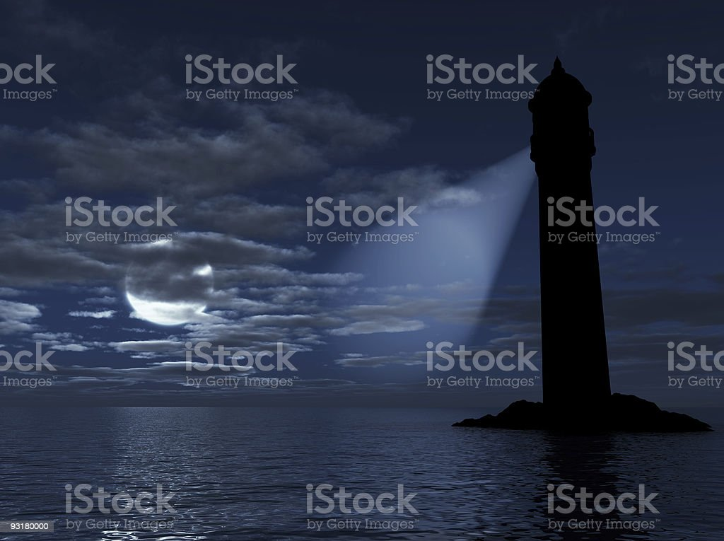 Dark lighthouse sheds beam into water on cloudy night royalty-free stock photo