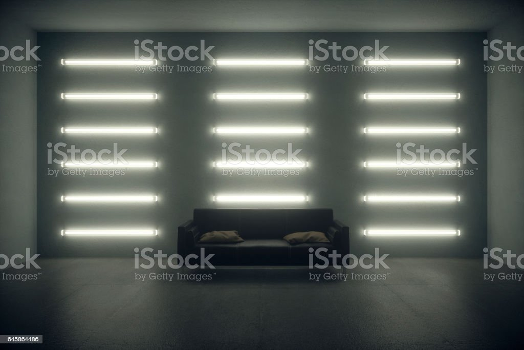 Dark living room with wall neon lights and leather sofa.
