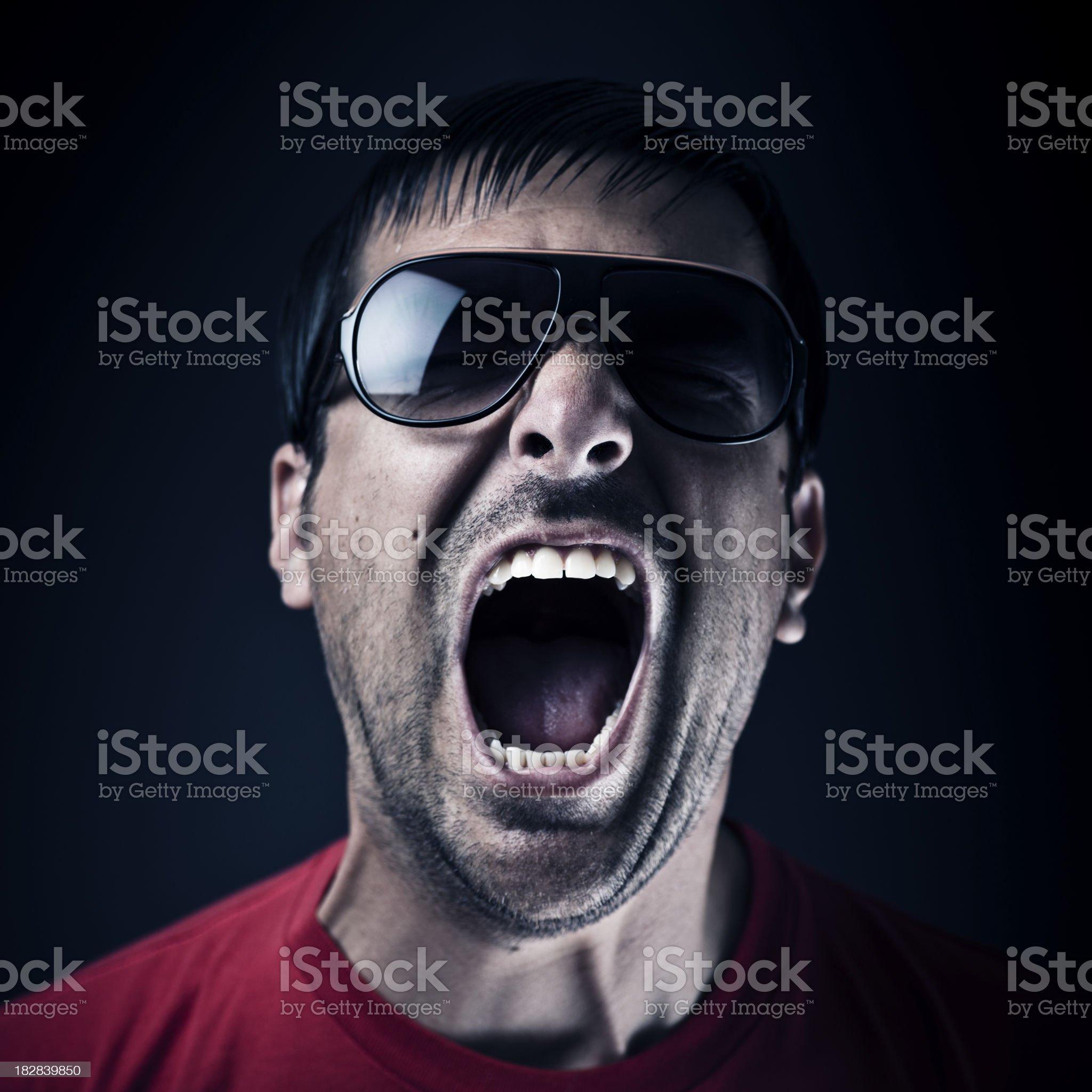 Dark man screaming royalty-free stock photo