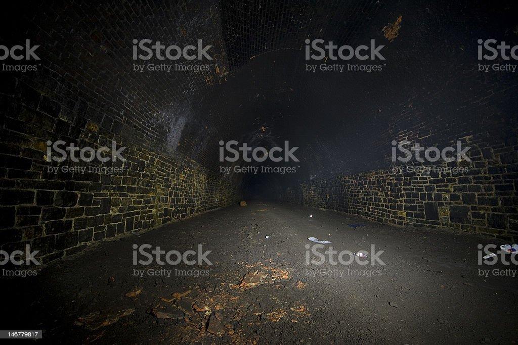 Dark Misty Underground Tunnels stock photo