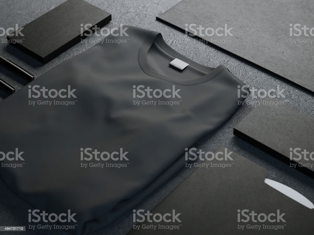 Dark mockup with blank t-shirt stock photo