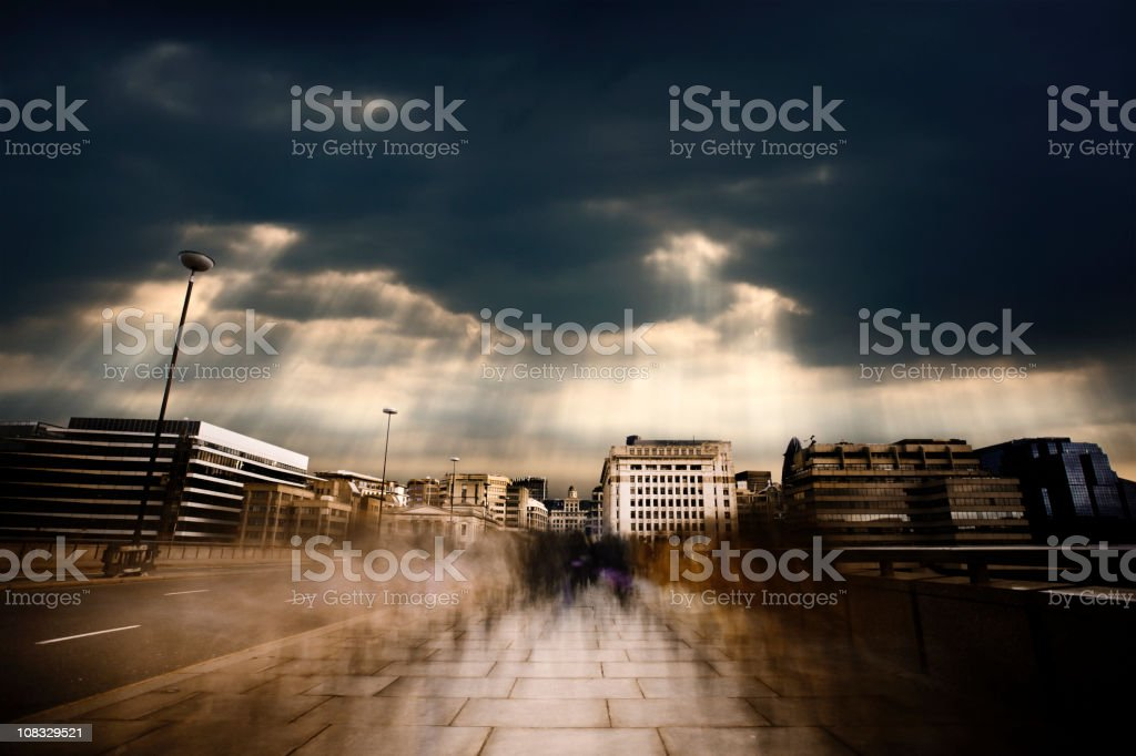 Dark morning commute royalty-free stock photo