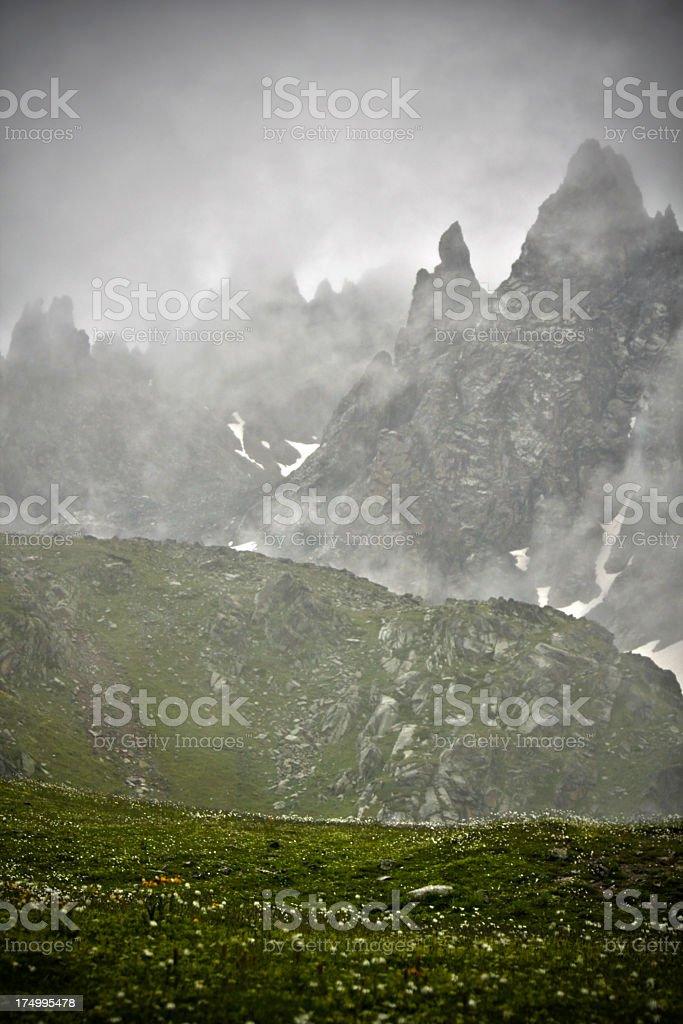Dark mountain landscape stock photo