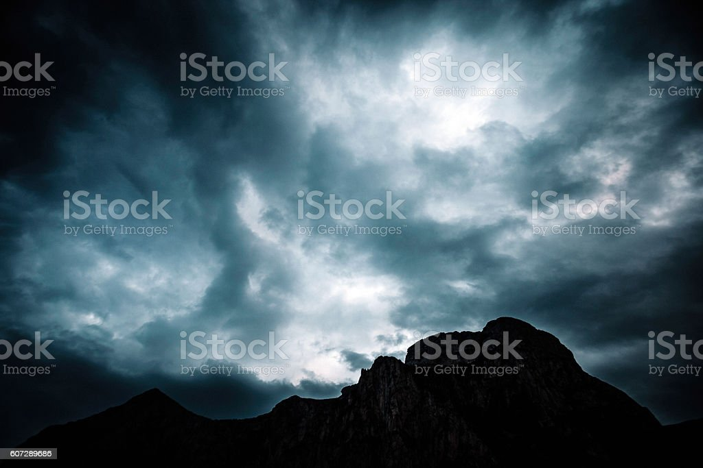 Dark mountains, Sicily. stock photo